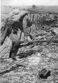 Russian soldier on the barbed wire